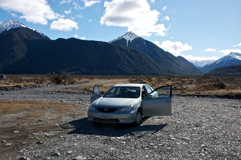 Hire car beside the Waimakariri River