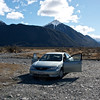 Hire car beside the Waimakariri River