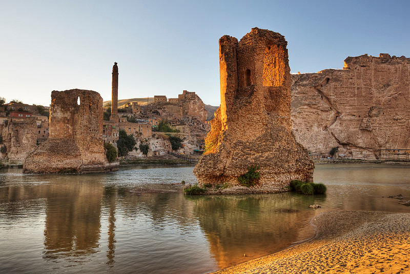 Hasankeyf<br /> <br /> The two stumps in the Tigris river above are the broken arches and pylons of the Eski Koprusu (Old Bridge).