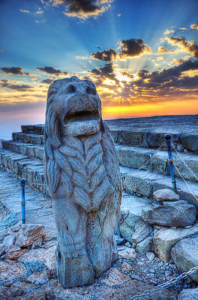 Sunrise on the Eastern terrace of Nemrut Dagi<br /> <br /> Oh it was so windy and cold waiting for the sun to rise.