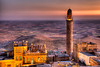 Mardin at twilight<br /> <br /> Minaret on the right belongs to the Ulu Cami, a 12th-century Iraqi mosque.