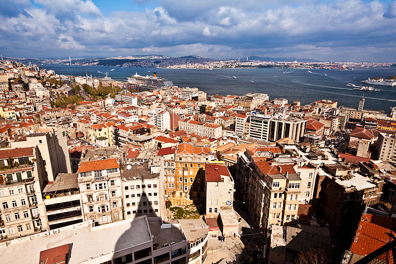 View across the Bosphorus Strait from the top of the Galata Tower.