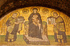 Aya Sofya<br /> <br /> Mosaic of Constantine the Great, (R), offering Mary, holding the Christ child, the city of Constantinople; Emperor Justinian, (L), is offering her the Aya Sofya.