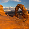 The canonical view of Delicate Arch at Sunset with the La Sal Mountains in the background