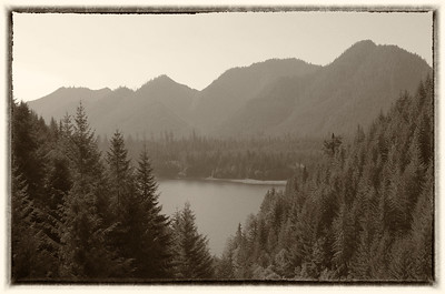 Overlook of Lake Wynoochee.  There is a fire buring north of here that put a lot of smoke int he air.  Monochrome seemed to be the best way to handle the washed out sky.