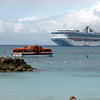 Tender returning to Princess Grand anchored off Princess Cays beach