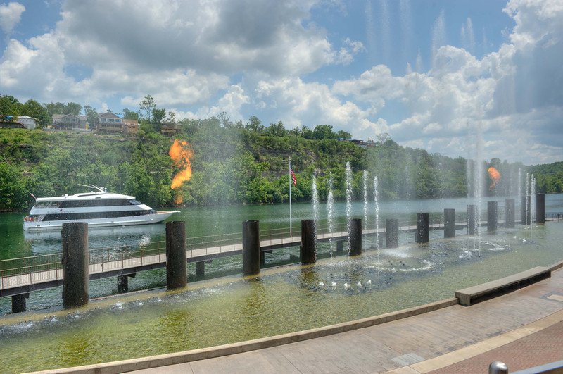 """Fountain at """"The Branson Landing"""" in old town Branson, MO"""