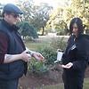 Jeffrey and Ursula comparing horse chestnuts at Volunteer Park