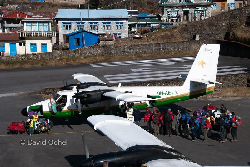 Boarding a Dornier 228.
