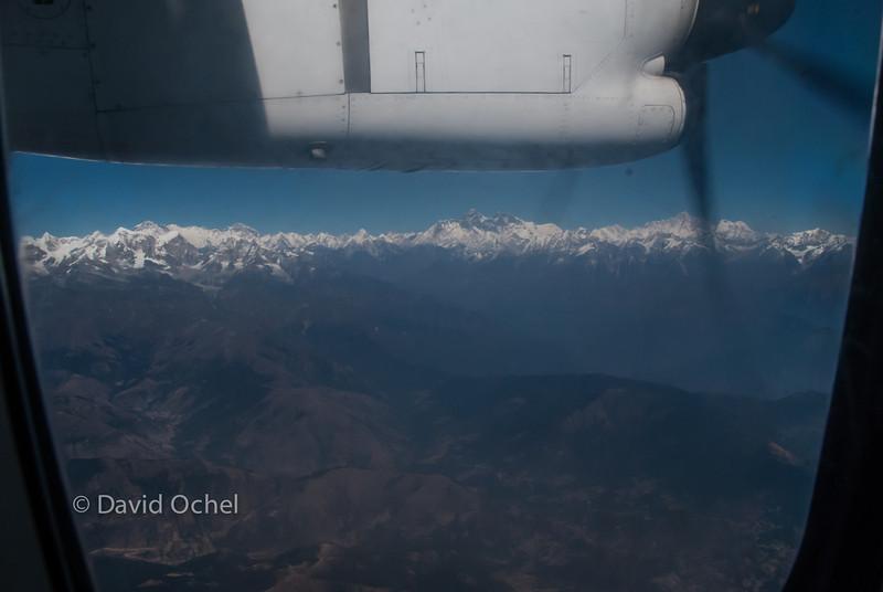 Amazing view of the Himalaya when flying from Kathmandu to Paro.
