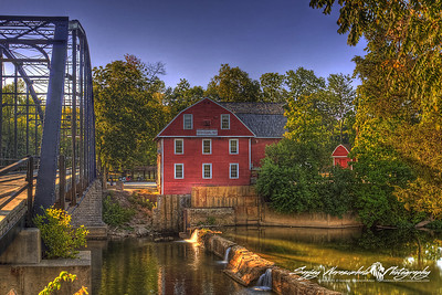 Sunrise at the War Eagle Mill and Iron Bridge, east of Rogers, Arkansas 2012