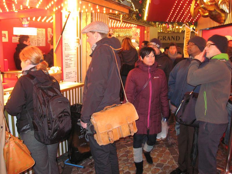 Part of the Barfusserplatz Xmas market, buying Gluhwein
