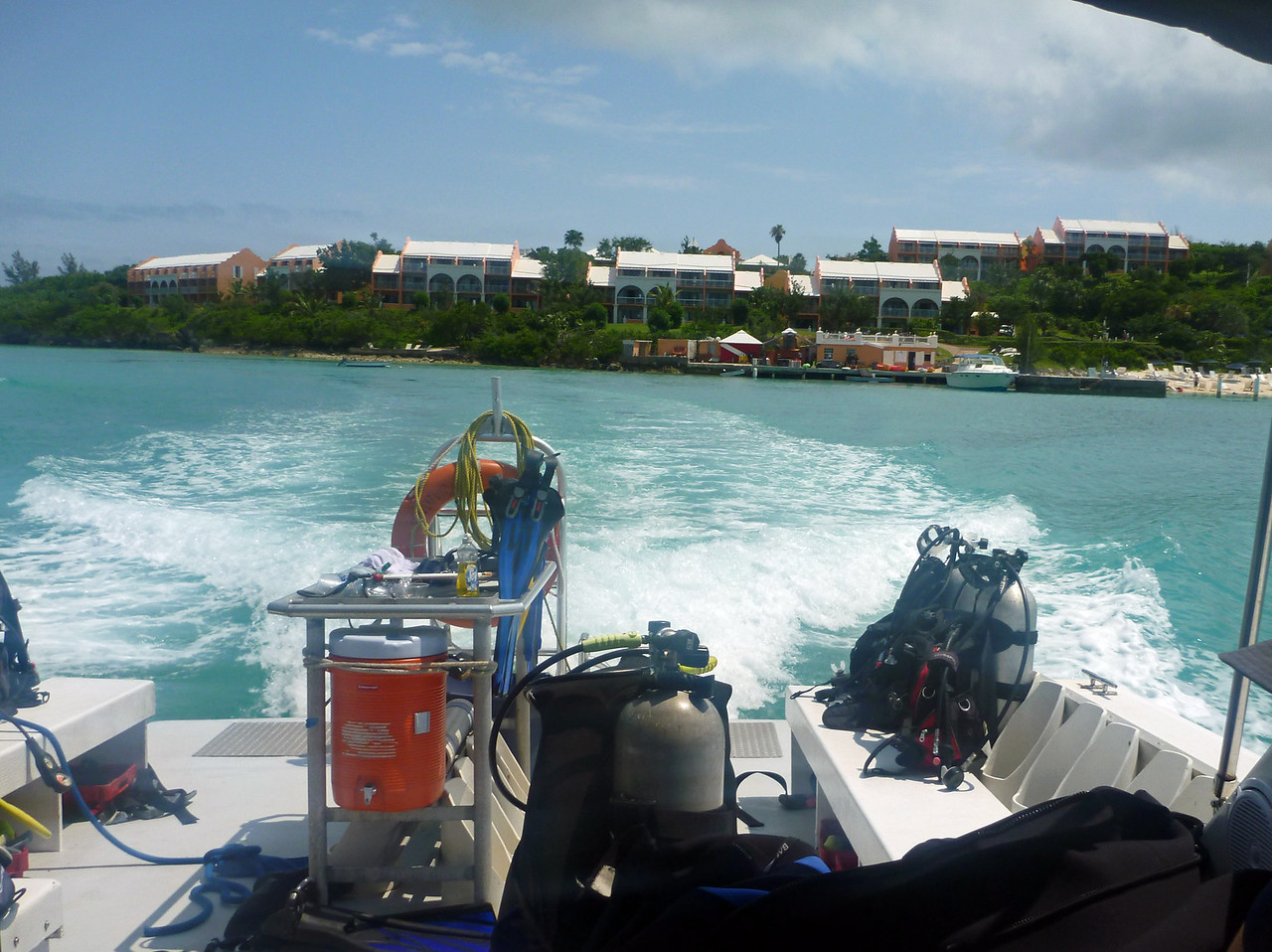 Leaving Grotto Bay Resort on dive trip