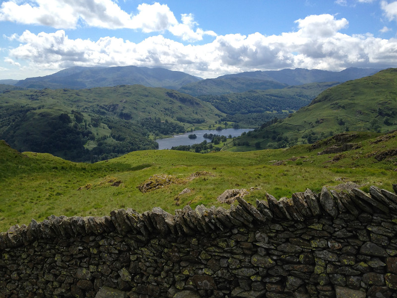 Rydal water, view from the ridgeline leading down from Dove Crag to Ambleside, Lakes District, England.