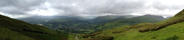 Panorama from near summit of Wansfell Pike, view of Ambleside, Lakes District, England.