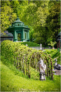 The grounds of Schloss Linderhof are reminiscent of the years between 1865 -1880. Here a Moorish pavilion—bought wholesale from the 1867 Paris Universal Exposition.