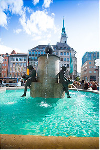 Fischbrunnen Fountain in Marienplatz. In the background is St. Peters Church where we ascended to the top just below the clock to see a panoramic view of Munich.