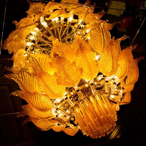 Glass light fixtures inside the Golden Nugget