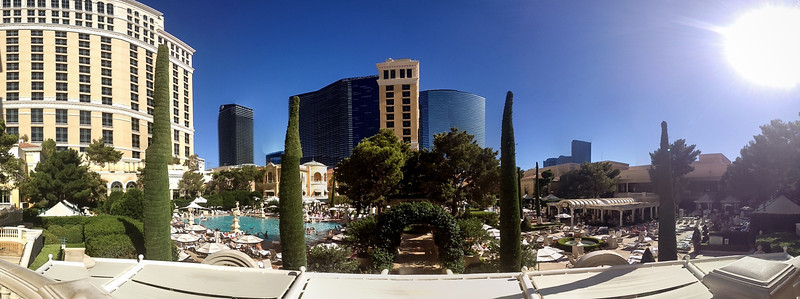 Panorama of the pools at the Bellagio