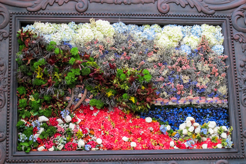 "Floral arrangement modeled after Claude Monet's ""Cap Martin, Near Menton"" at the Bellagio Conservatory"