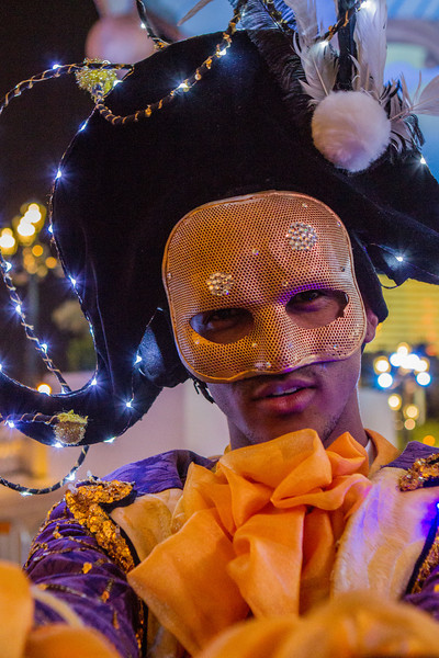 A costumed performer at the Venetian