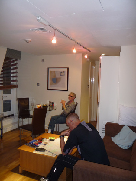 We stayed at Fraser Place at Queens Gate, which is located in the Brompton district of The Royal Borough of Kensington and Chelsea, London, England.  Still trying to stay awake in our living room.