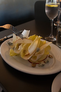 Deconstructed salad of endive, apple, walnut, and blue cheese at Grüner. Had a hankering for some German pub fare and found this place on Yelp. Max's Allegheny Tavern it ain't.