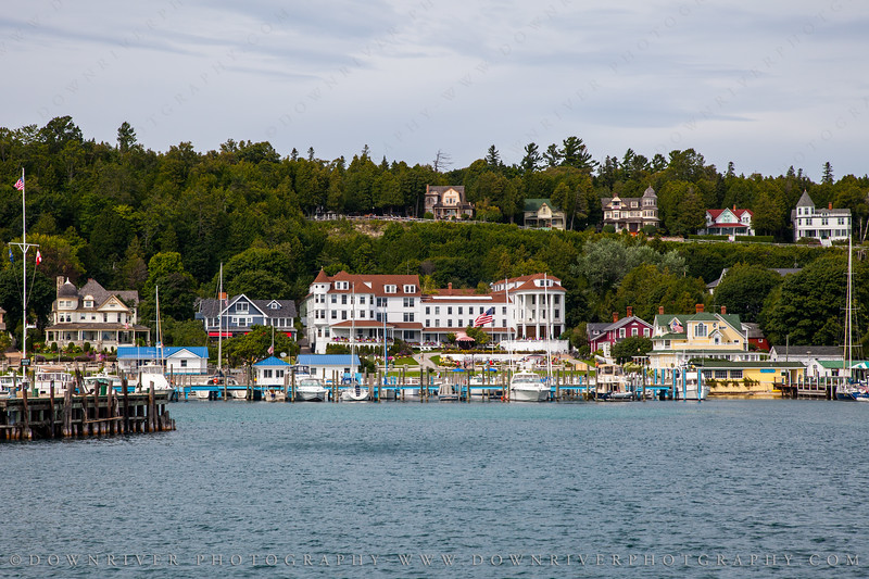 Mackinac Island port/harbor.  Gorgeous coastal town.  You can see the Island House hotel in the center.