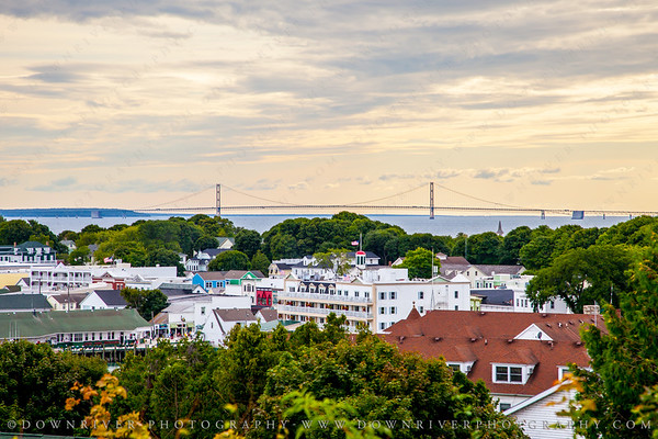 A view of the Mackinac Bridge over the city.  They were painting and working on the bridge and you can see huge dropcloths far left and right on the bridge that hung down to the water.