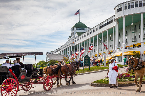 View of the amazing Grand Hotel on Mackinac Island, MI.  It's absolutely huge.  Lots of celebrities have stayed at the Grand Hotel, and to keep the historic feel, they even have a dress code.