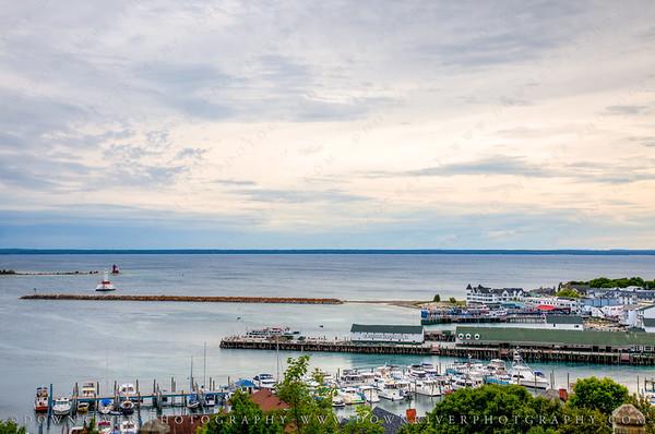 The marina and port in Mackinac Island harbor.
