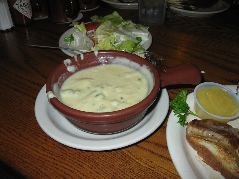 Dinner comes with soup (cream of celery -- GOOD! and a bowl of it, not  a cup) AND salad.