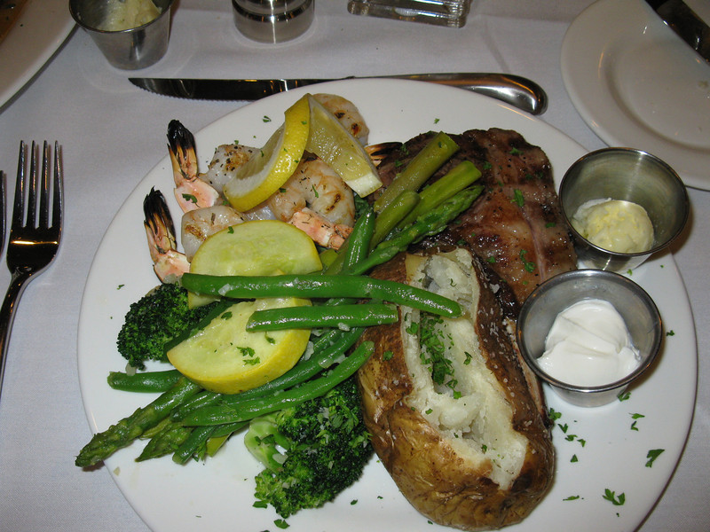 The 8th Street restaurant at the Ivy Inn.  Greg's lamb chop (delicious!) and grilled shrimp.