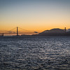 Sunset view of the Golden Gate bridge in San Francisco