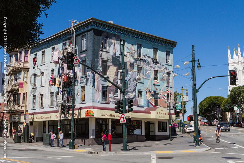 Broadway and Columbus Avenue Building Mural in San Francisco