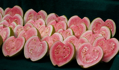 Heart shaped pink guavas