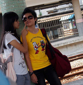 Couple at a train station