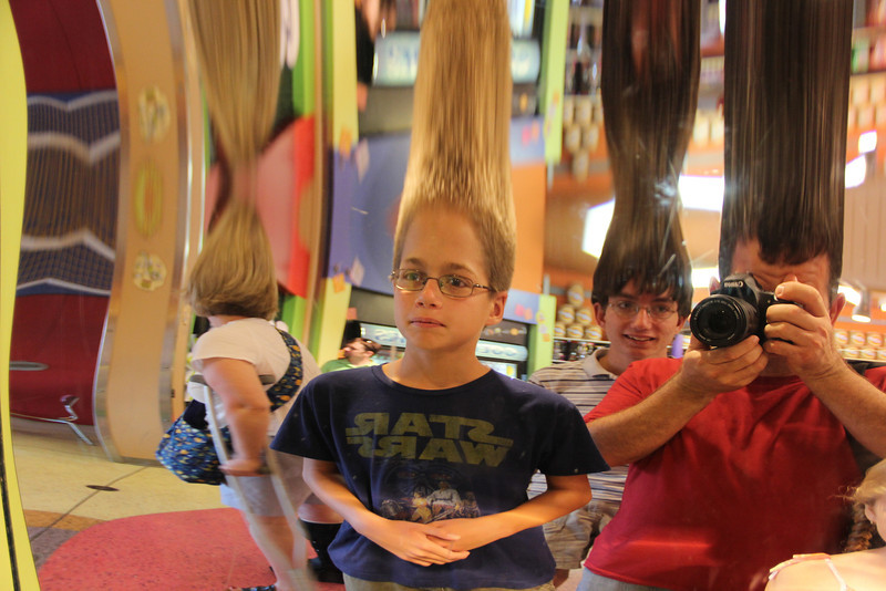 Fun house mirror at the candy store
