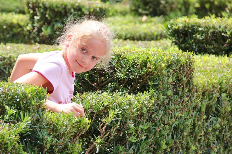 Maggie navigates the hedge maze