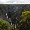 The lookout view of Wollomombi Falls, a 260M cascade that's among the highest in Australia. Two rivers combined to form the gorge here.