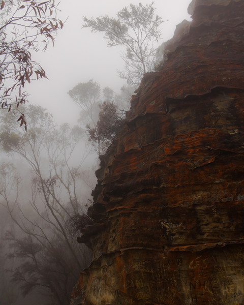 The famous Echo Point is enshrouded in mist so the views are more lithographic than scenic!