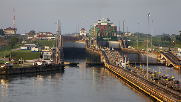 Gatun Lock, Showing Right Lock Already Raising Ship