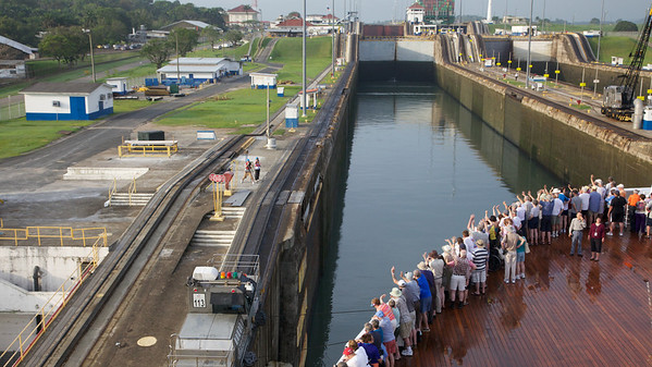 Moving into the First Lock with Ship's Photographer on Land
