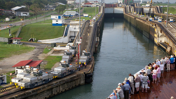 Gatun Lock, Our Mules Ready to Hook Up