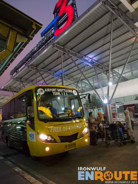 The free shuttle bus at Soekarno Hatta Airport
