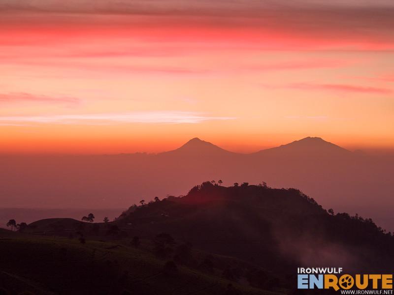 Mount Merapi and Mount Merbabu on the horizon