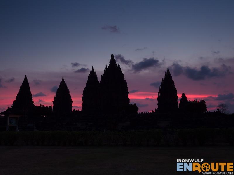Candi Prambanan in silhouette