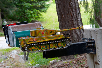 A model tank mailbox near Lake Wenatchee in Washington state.