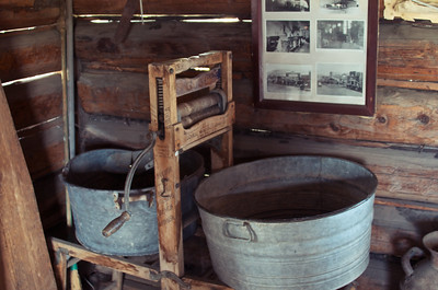 Washtubs inside a cabin in Molson, Washington