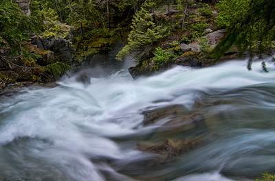 The top of White River Falls above Lake Wenatchee in Eastern Washington